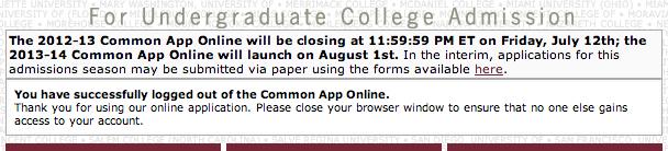 CommonApp 2014 undergrad admission