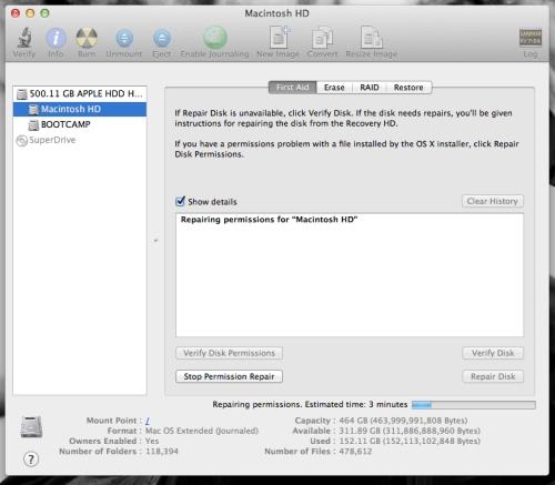 repairing disk permission OS X