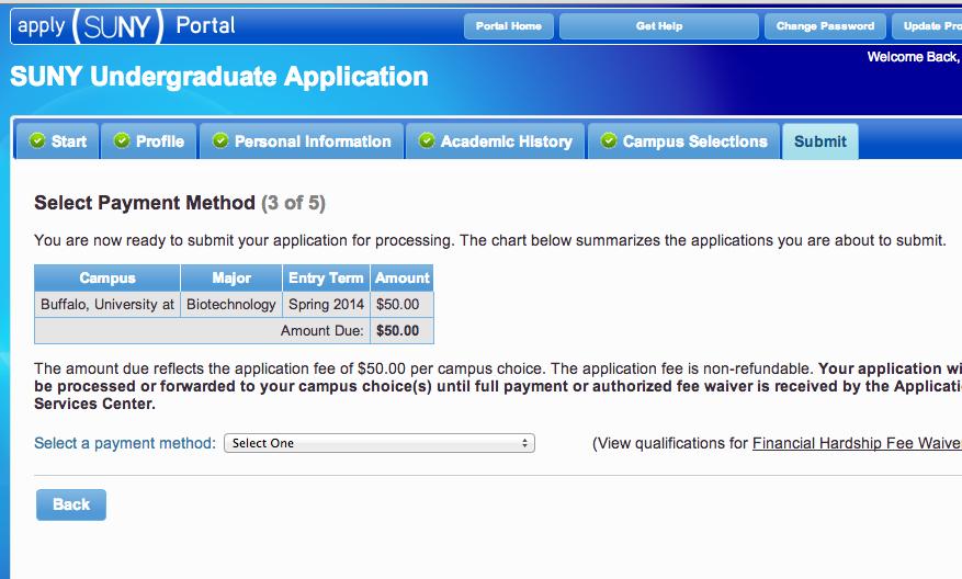 SUNY Buffalo admission fee