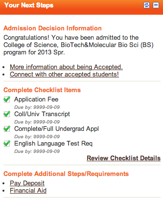 RIT admission decision